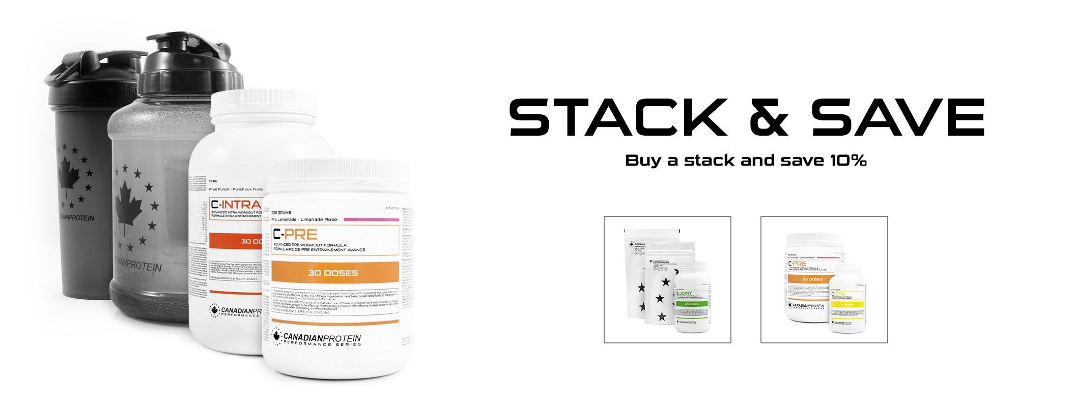 Stack and Save 10% with our all new supplement and protein Stacks!